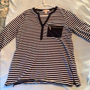 Michael Kors 3/4 Length Black&White Striped Top